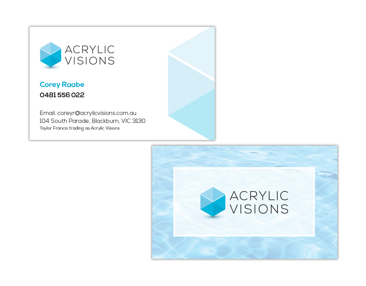 Business card design katy pastoors acrylic visions business card design reheart Choice Image